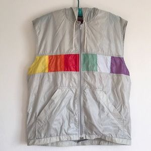 VTG Nylon Rainbow 🌈 Zip Up Vest Hood WindBreaker